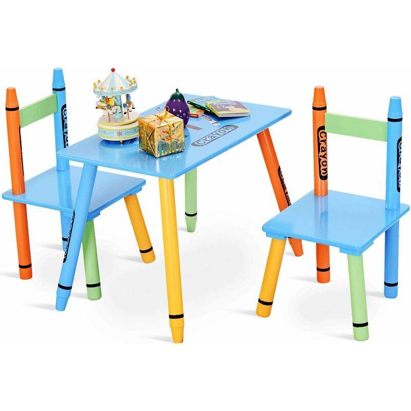 Set di 3 Pezzi Tavolino per Bambini con 2 Sedie Set di Mobili per Bimbo in MDF + Legno di Pino, Multicolore