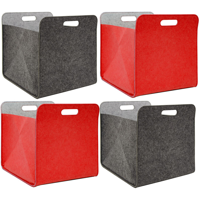 Scatole Per Scaffali.Set Di 4 Scatole Di Feltro 33x33x38 Cm Cesto Scaffali Ikea Kallax Grigio Rosso