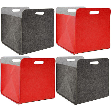 Scaffali In Plastica Ikea.Set Di 4 Scatole Di Feltro 33x33x38 Cm Cesto Scaffali Ikea Kallax