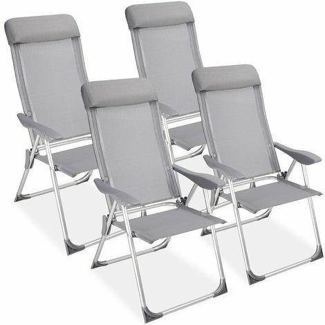 Sedie Sdraio Alluminio Con Poggiapiedi.Set Di 4 Sedie Sdraio In Alluminio Con Schienale Alto E Poggiapiedi