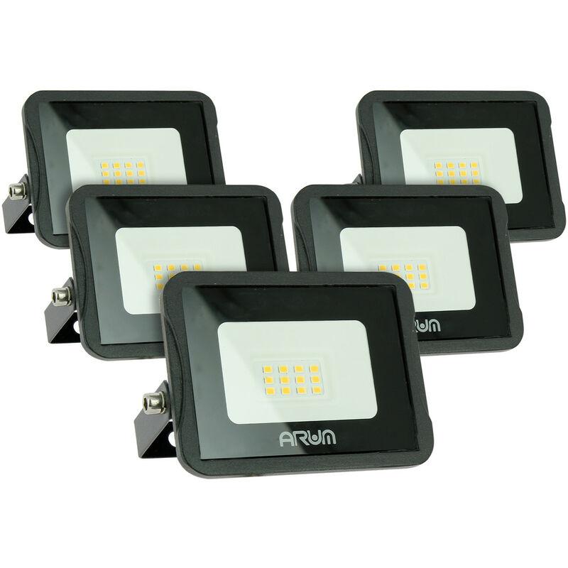 Set di 5 faretti LED da esterno 10W IP65 | Température de Couleur: Bianco neutro 4000K