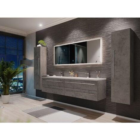 """main image of """"Set di mobili da bagno Colossos 180 4 pezzi con specchio a LED grigio cemento"""""""