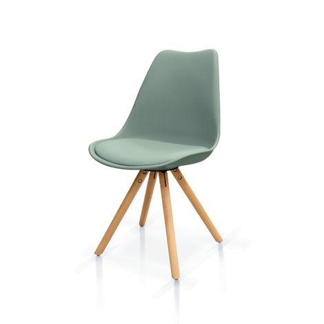 Set di sedie in polipropilene grigio con seduta imbottita e gambe a piramide in legno di faggio
