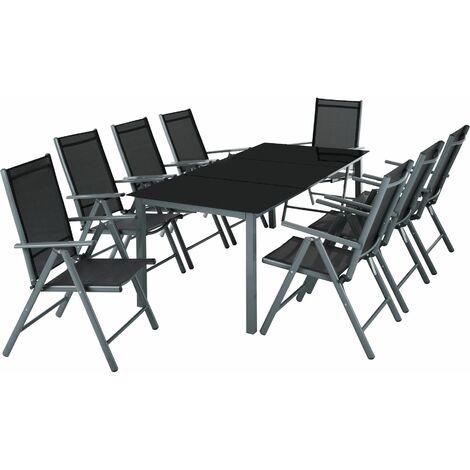 Outsunny Set Mobili da Giardino Tavolo con 6 Sedie Pieghevoli in Alluminio e Tessuto di Textilene
