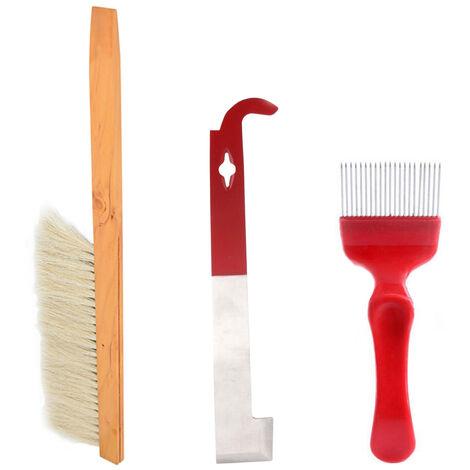 """main image of """"Set di strumenti per apicoltura in 3 pezzi: forchetta da taglio per miele, spazzola per api, raschietto BT-096"""""""
