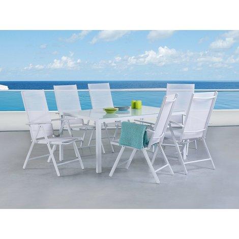 Tavoli Da Giardino Catania.Set Di Tavolo Da Giardino 160cm E 6 Sedie In Alluminio Bianco Catania