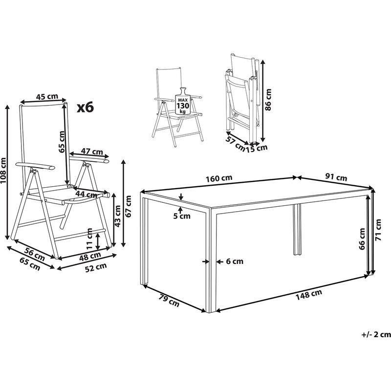 Tavoli Da Giardino Catania.Set Di Tavolo Da Giardino 160cm E 6 Sedie In Alluminio Grigio Catania