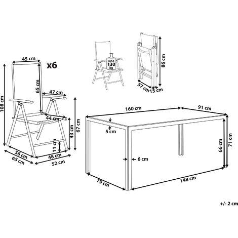 Tavoli Da Giardino Catania.Set Di Tavolo Da Giardino 160cm E 6 Sedie In Alluminio