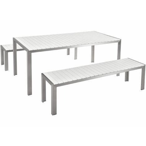 Tavolo Da Giardino Legno Bianco.Set Di Tavolo E Panche Da Giardino In Alluminio E Legno Sintetico