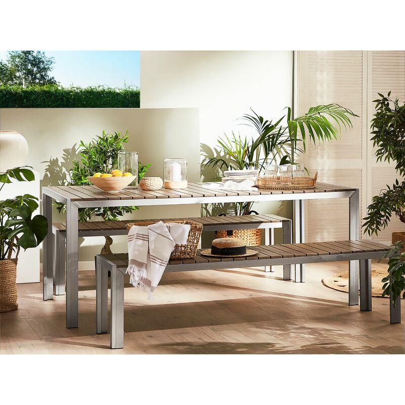 Panche E Tavoli Per Esterno.Set Di Tavolo E Panche Da Giardino In Alluminio E Legno Sintetico