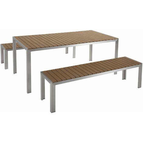 Tavoli Da Giardino Legno E Alluminio.Set Di Tavolo E Panche Da Giardino In Alluminio E Legno Sintetico
