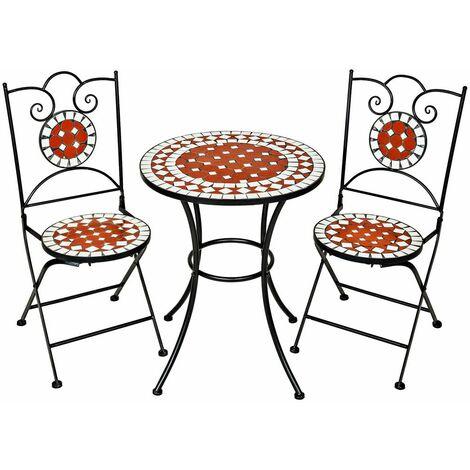 set di tavolo e sedie con mosaico, 2 sedie + tavolo Ø 60 cm - tavolo con sedie - marrone