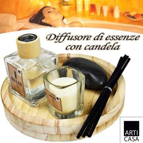 Set Diffusore Aromi Con Candela Vassoio e Pietra + 4 Sticks Profumo Ambiente