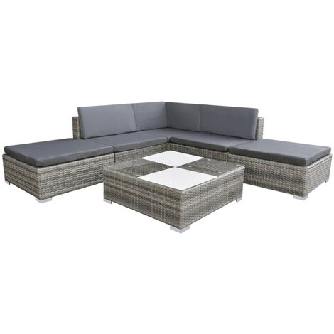 Set divani da giardino 15 pz in polirattan modulare grigio for Divani da giardino offerte