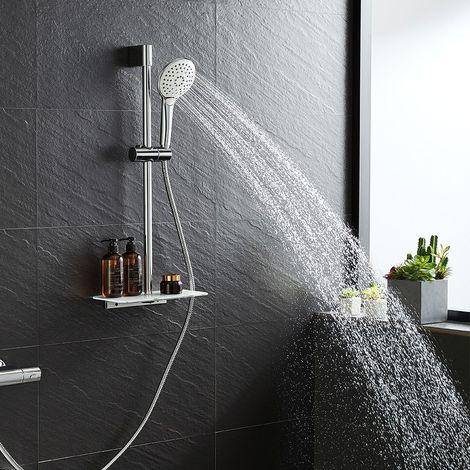 SET Douchette et Showerpipe support Réglable avec Étagère (Sans Robinet) 2 en 1 Set de Douche Baignoire Salle de Bain WC