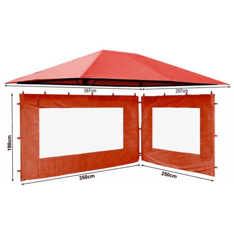 Seitenteil  für Sonnenschutz Trim Pavillion 3m ohne Fenster grau Seitenwand