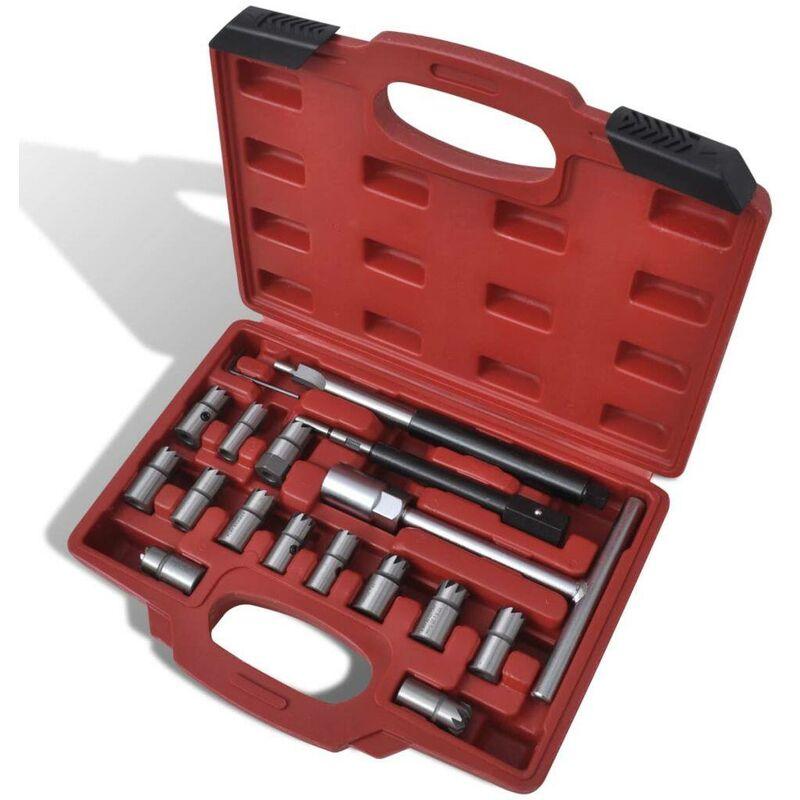 Set escariadores para limpieza asiento de inyectores diésel 17 piezas