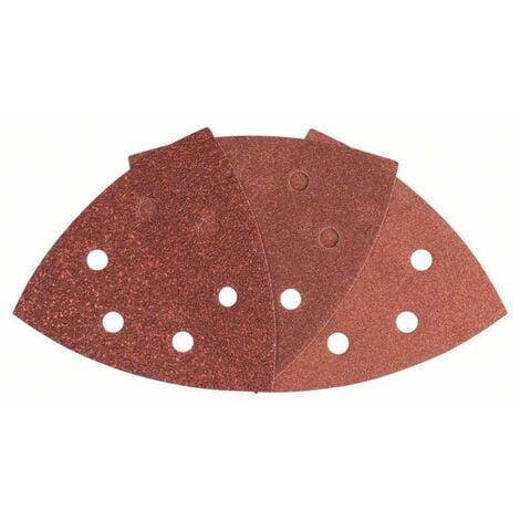 Set feuilles abrasives Delta avec bande auto-agrippante, perforé Bosch Accessories 2607017111 Grain 60, 80, 180 Cote de