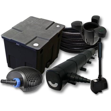 Set filtro 1 cámara estanques 12000l Clarificador UVC 72W Bomba 40W Tubo Skimmer SK30 Fuentes Jardín