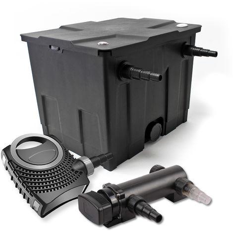 Set filtro estanques 12000l 18W UVC Clarificador NEO8000 70W Bomba jardin