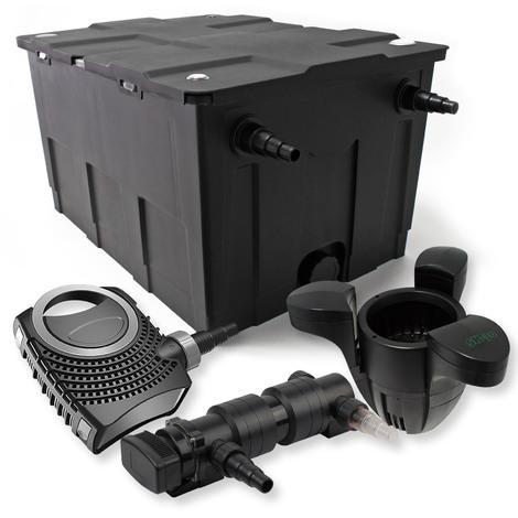 Set filtro estanques 60000l 18W UVC Clarificador NEO8000 70W Bomba Skimmer