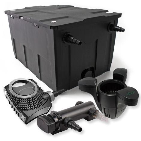 Set filtro estanques 60000l 18W UVC Clarificador NEO8000 70W Pumpe Skimmer