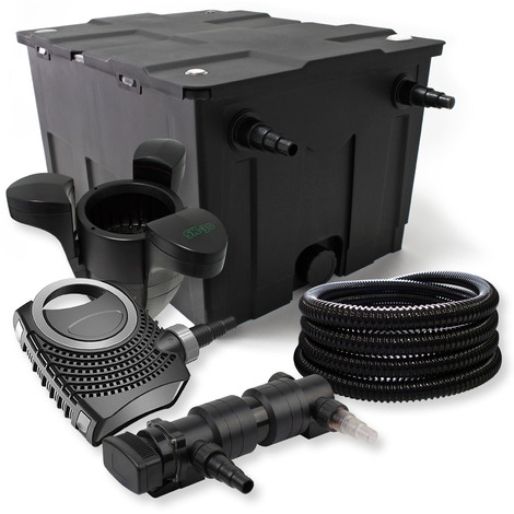 Set filtro estanques 60000l 24W UVC Clarificador NEO8000 70W Bomba Tubo Skimmer