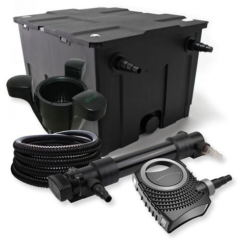Set filtro estanques 60000l 36W UVC Clarificador NEO10000 80W Bomba Tubo Skimmer