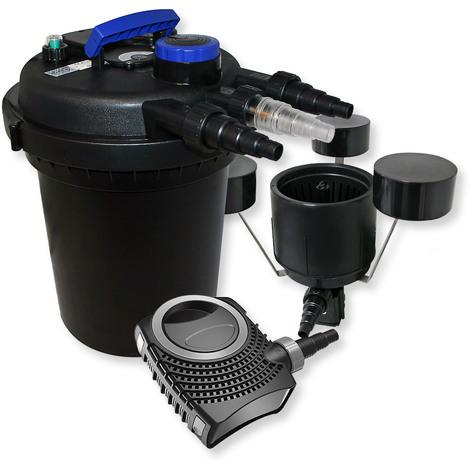 Set filtro presión estanques 10000l Clarificador UVC 11W Bomba 70W Skimmer CSP-250 KOI Jardín Peces
