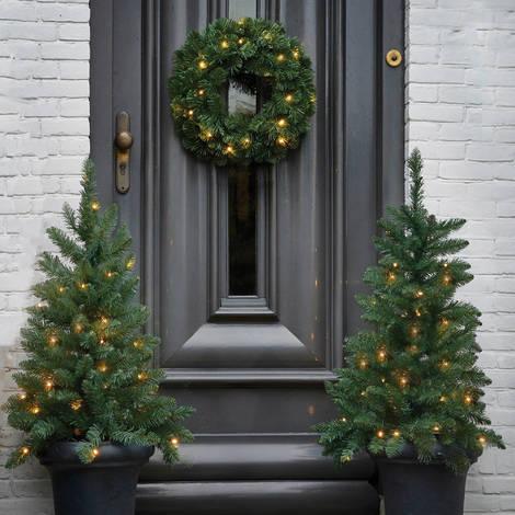 Addobbi Natale.Set Fuoriporta Natalizio Norton Verde 2 Pinetti 90cm Led 1 Ghirlanda 45cm Led Addobbi Natale Decoro