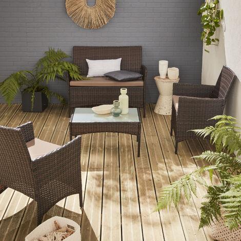 in Resina Intrecciata Colore: Nero Salotto da Giardino Corf/ù Happy Garden con Cuscini Bianchi 4 posti
