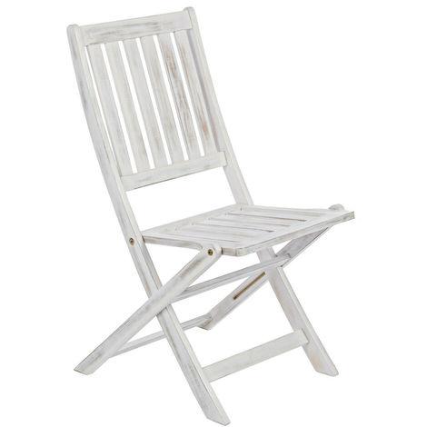 Set giardino in legno bianco tavolo e sedie pieghevoli esterno ...