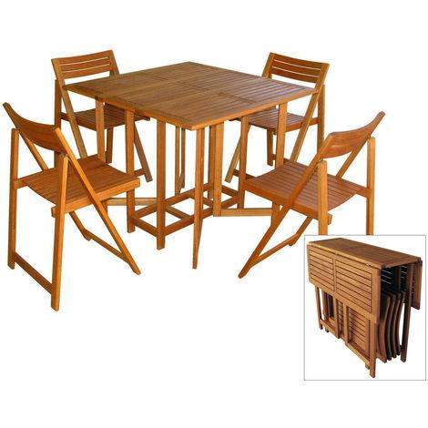set giardino tavolo in legno acacia pieghevole 4 sedie