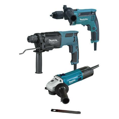 Set herramientas eléctricas Makita MT: Martillo Ligero 800W + Taladro percutor 430W + Amoladora 570W PRK00184