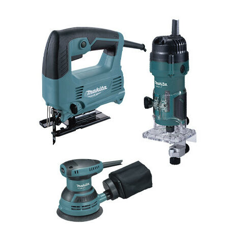 Set herramientas eléctricas Makita MT: Sierra de calar 450W + Fresadora 530W + Lijadora Rotorbital 230W PRK00185