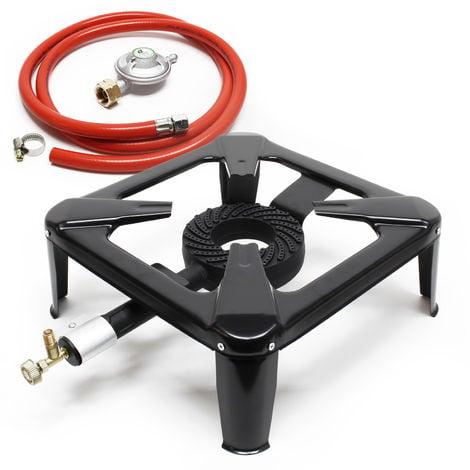 Set hornillo de gas para camping con manguera y regulador presión 28mbar Italia Accesorios outdoor