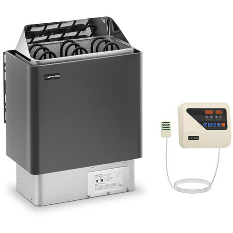 Set Horno De Sauna Con Panel Control Estufa Eléctrica Calentador 4,5 kW LED 400V