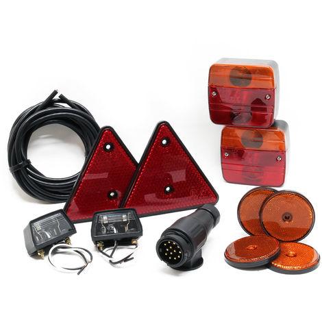 Set iluminación trasera para remolque 12 piezas Enchufe 13 polos Cable 5m Reflectantes Marcado E