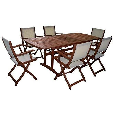 Set impression tavolo legno estensibile con 6 poltrone for Sedie per salone