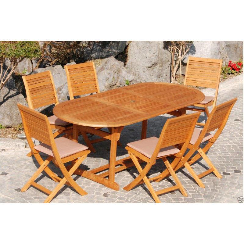 Tavolo Con 6 Sedie In Legno.Set In Legno Eucalypto Con Tavolo Ovale 180 240x100 Cm Noce 6