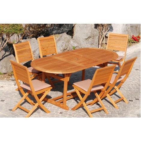 Tavolo Con 6 Sedie In Legno.Set In Legno Eucalypto Con Tavolo Ovale 180 240x100 Cm Noce 6 Sedie