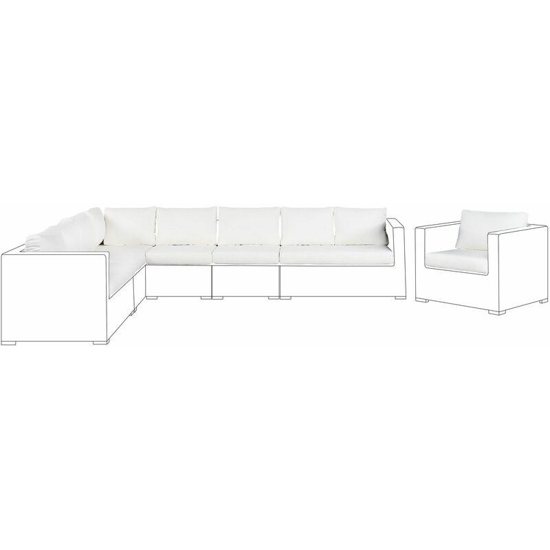 Beliani - Kissenbezüge Set für XXL Gartenmöbel Set Cremeweiß Polyester Waschbar Outdoor