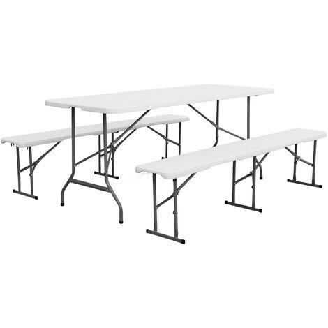 Set Klappbarer Empfangstisch und Sitzbänke aus Kunststoff Weiß 180 cm