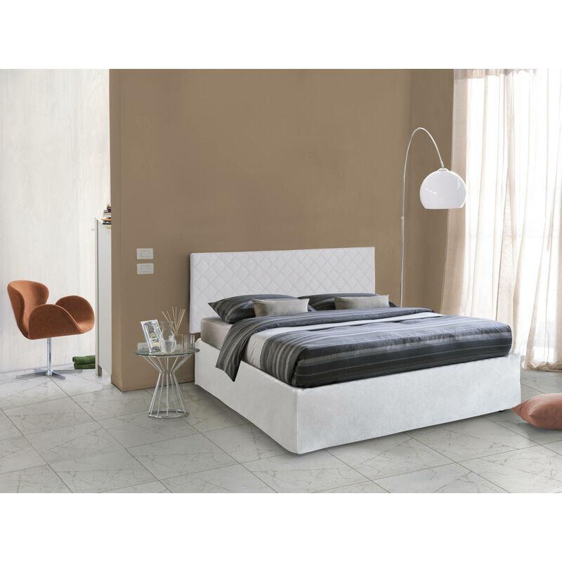 SET Doppelbett Kopfteil aus Öko-Leder in Weiß MIT Bettrahmen 160X190 UND Bezug, Farbe Weiß - TALAMO ITALIA