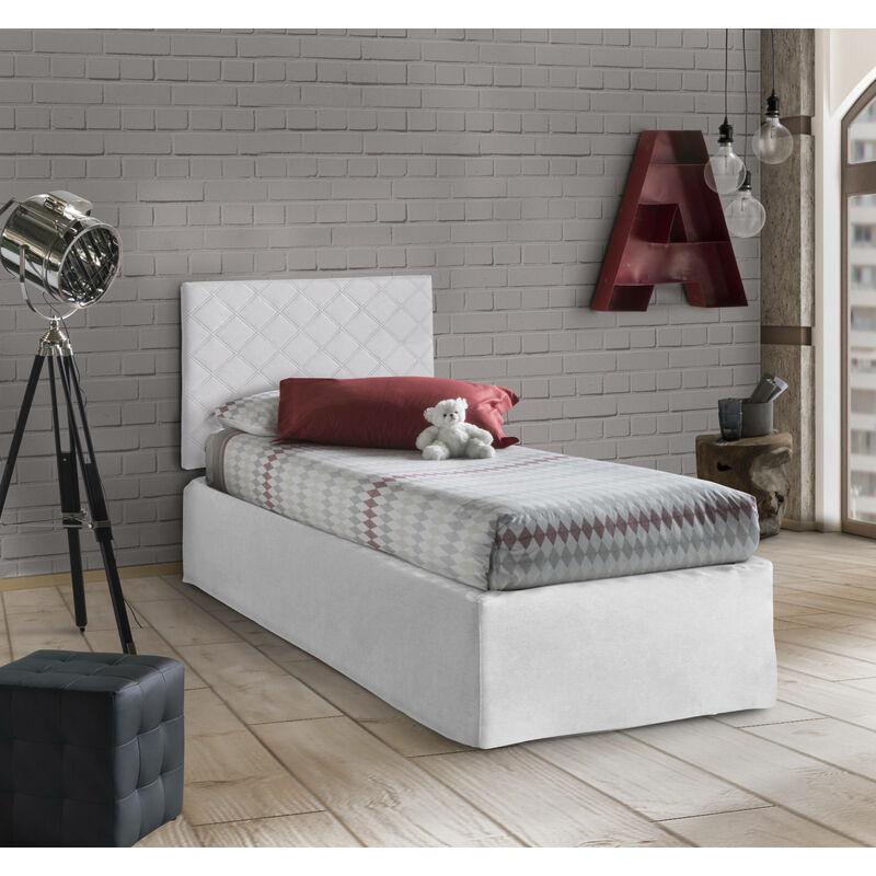 SET Kopfteil für Einzelbett aus WEISSEM Öko-LEDER MIT Bettrahmen 80X190 UND Bezug, Farbe Weiß - TALAMO ITALIA