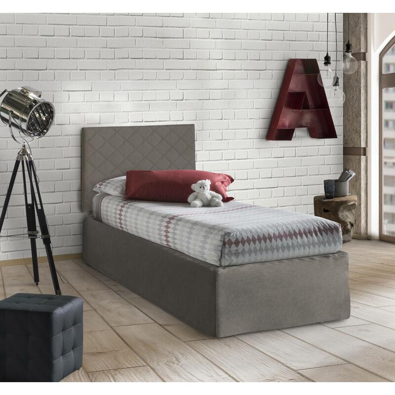 SET Kopfteil für Einzelbett aus Öko-Leder in Taubenblau MIT Bettrahmen 80X190 UND Bezug, Farbe Taubenblau