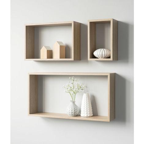Libreria Scaffali Parete.Set Libreria A Cubi 3 Scaffali Rettangolari Da Parete Muro Rovere Mensole Legno