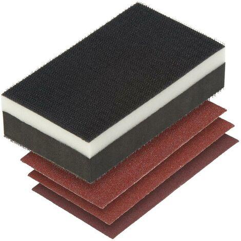Set lijado manual 2 en 1, bloque + 3 lijas.