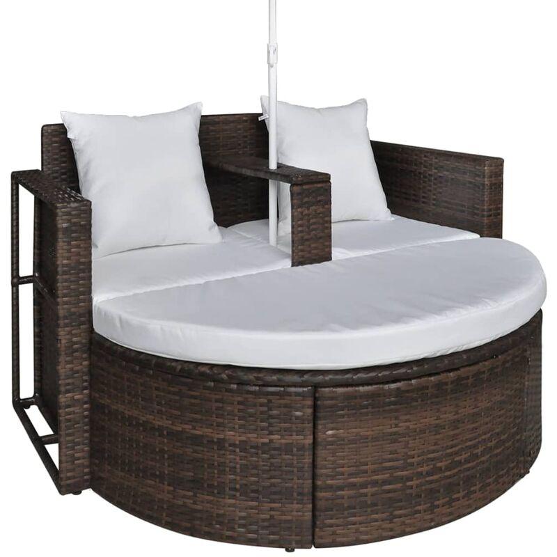 Set lounge da giardino in polirattan con parasole da esterno nero