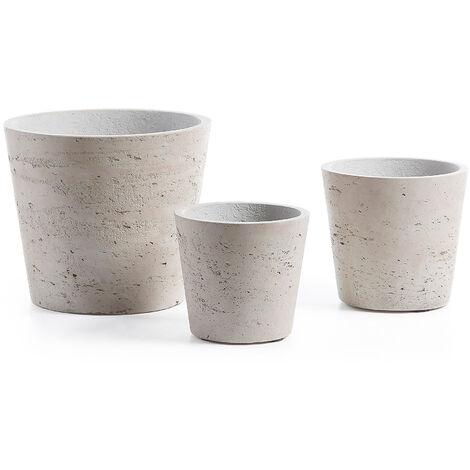 Set Low de 3 maceteros gris